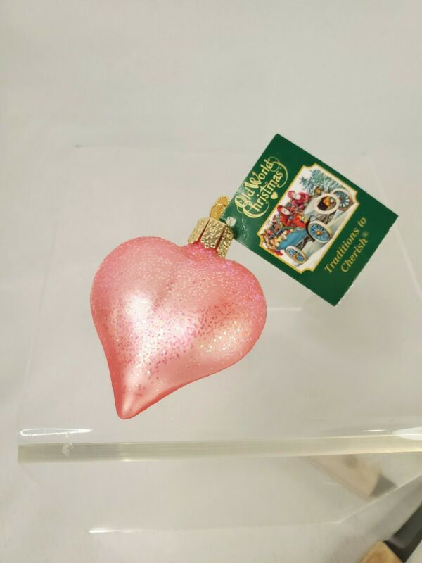 Old World Christmas Pink Glitter Heart Glass Christmas Ornament 2018