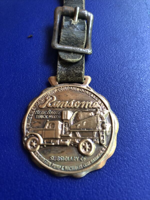 vintage antique pocket watch fob Ransome Cement Mixer Truck-RARE
