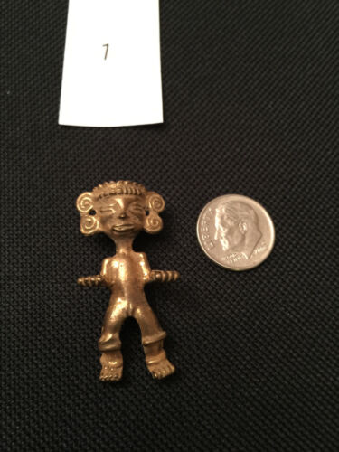 "Ancient Pre Columian Mayan Cast Tumbago Male Firgurine 1.5"" Tall"