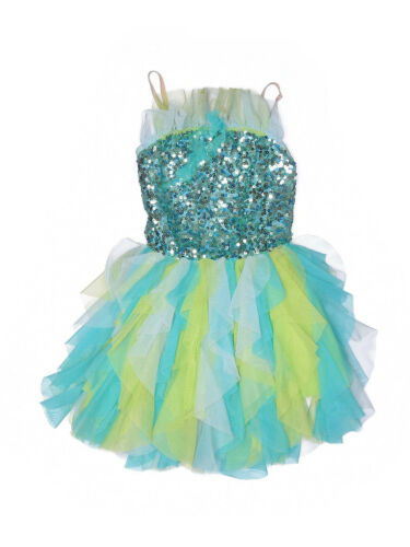 Girl Theatricals Green Blue Sequin Tap Jazz Ballet Dance Costume Size SC