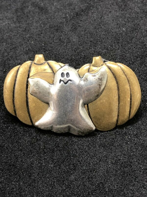 Vintage Halloween Ghost Pumpkin Pin Brooch Mixed Metal
