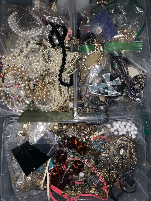 Premium 2~4 Lbs Vintage to Now Mixed Jewelry Lot Silver, Gold, Pearls, Quality