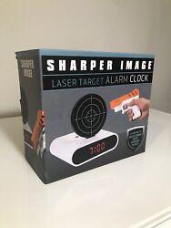 NEW Sharper Image Laser Target Alarm Clock White New