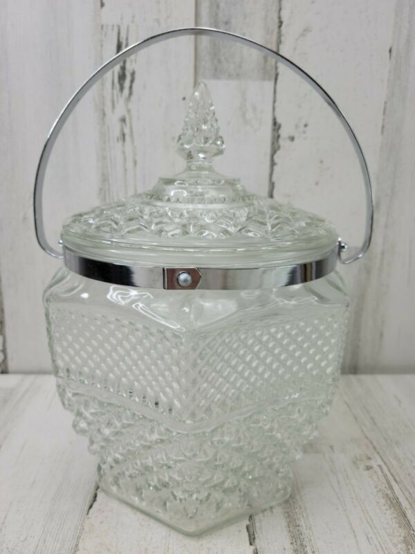 VTG Anchor Hocking Wexford Glass Ice Bucket Handled 10.5 in Tall
