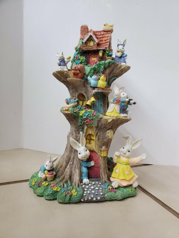 """Jaimy Easter Figurine 11"""" Tree Villiage"""