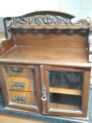 Smoking cabinet vintage/antique, glass door cabinet