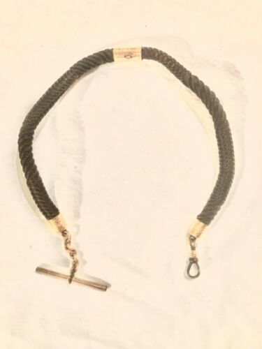 ANTIQUE VICTORIAN MOURNING HAIR WATCH FOB WITH ETCHED GOLD FILLED FITTINGS