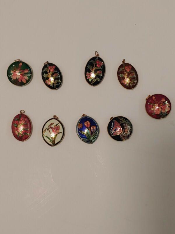 Vintage Floral pattern Cloisonne puffy pendant GOLD TONE Lot of 9