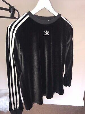 Womens Adidas Originals Black Long Sleeve Velour Top Size 12