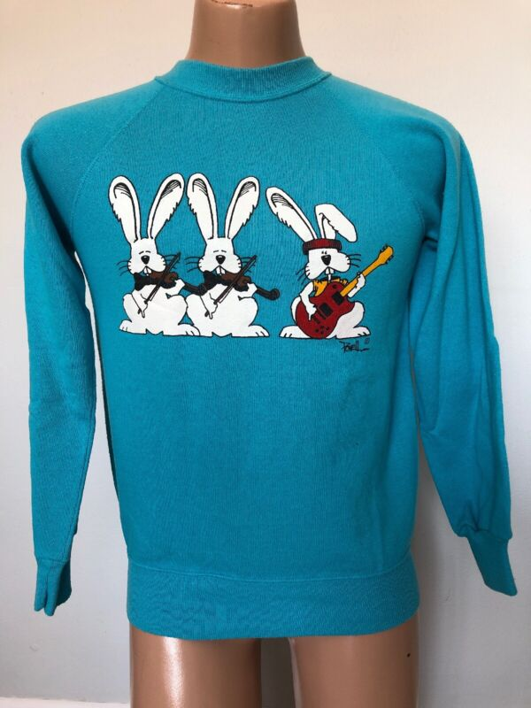 Vintage 80's Easter Bunny Rock Band Sweatshirt Medium Artist: Powell 50/50