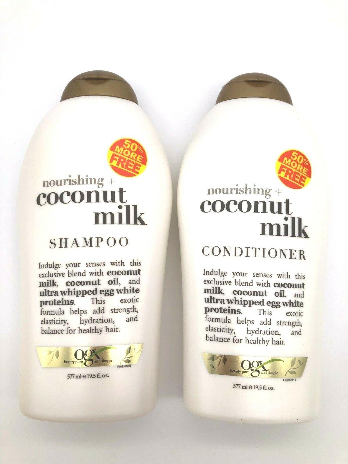 OGX Nourishing Coconut Milk Shampoo + Conditioner 19.5 oz Ea