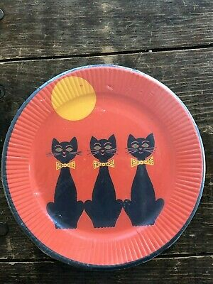 Make Halloween Decorations Paper (Vintage Halloween Party Paper Plate Pack NIP 3  Black Cats Reeds Brand Sealed)