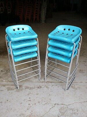 Vintage Blue Stacking School Lab Stools - Cafe Bar Restaurant - 40 Available