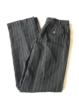 Vintage (1990's) J Crew Pinstripe Black Pants Size 2P, No Brand or Size Tags 1990s Womens Pants