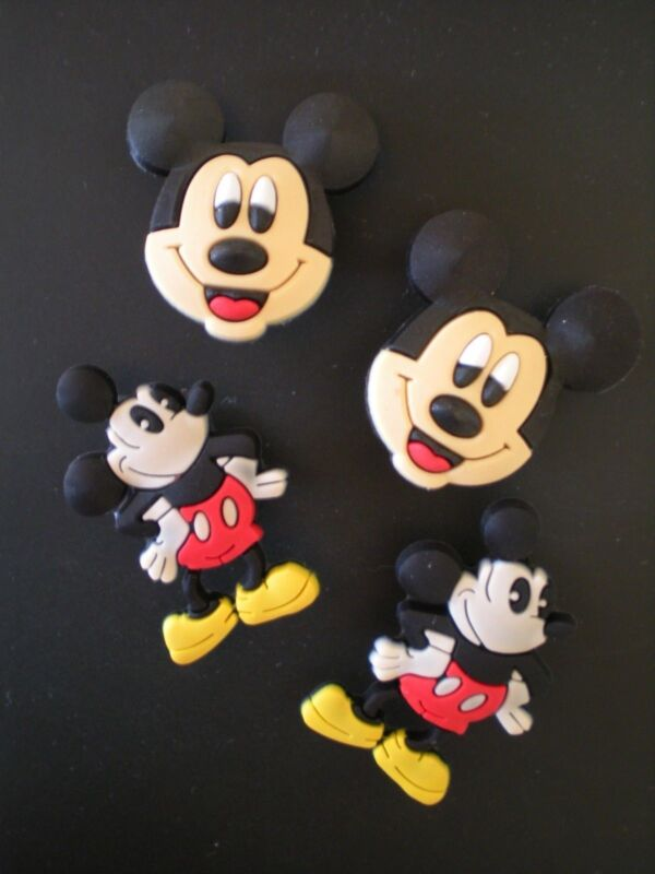 4 Mickey Mouse Shoe Charm Plugs For Clogs Belts WristBand Accessories W/Holes