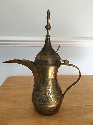 Vintage Middle Eastern Brass Jug/Pitcher/Tea/Coffee Pot 28cm Tall Engraved