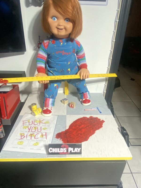 Chucky Childs Play 2 Stand. Made by Commission.. DOLL/YARDSTICK NOT INCLUDED!!