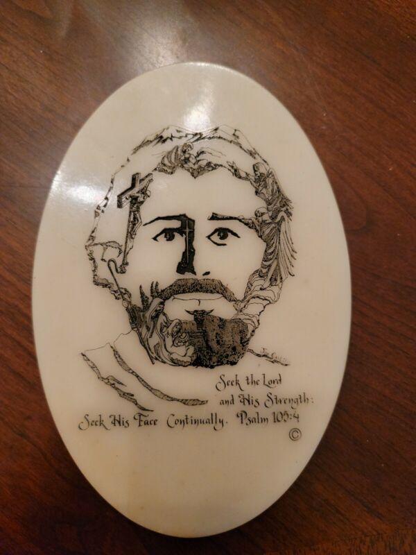 NICE JOE CASTILLO STONE CARVED FACE OF CHRIST JESUS Psalm 105:4  6x4
