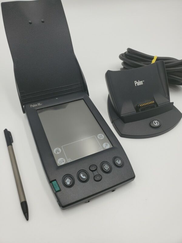 Palm IIIc Handheld PDA Organizer Device with Flip Cover and Charge Stand