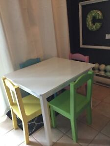 Kids table and 4 chairs- available