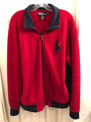 Ralph Lauren Polo Big Pony Red Track Jacket Mens Size Large