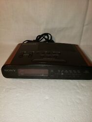 Vintage Sony ICF C420 Dream Machine Clock Radio Dual Alarms Wood Grain Look