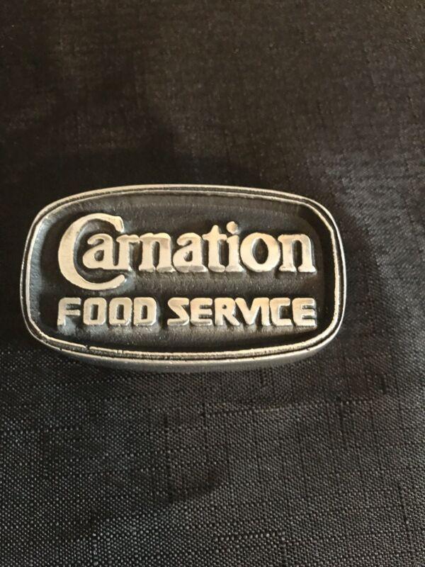 CARNATION FOOD SERVICE vintage Paperweight Metal Sign