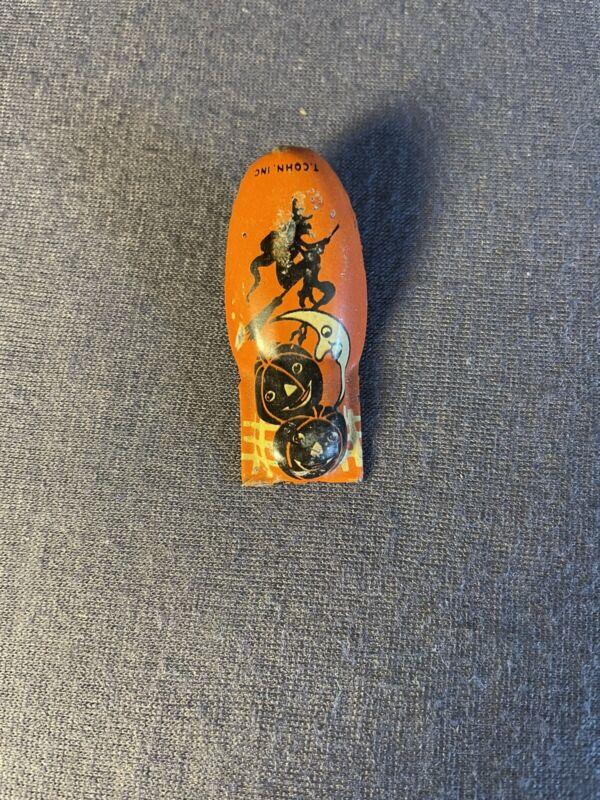 Vintage Halloween clicker, T. Cohn,  1950s, metal noisemaker, Some Paint Loss