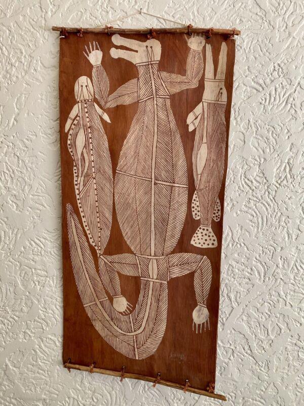 Large old Aboriginal painting on bark of a saltwater crocodile Arnhemland c1968
