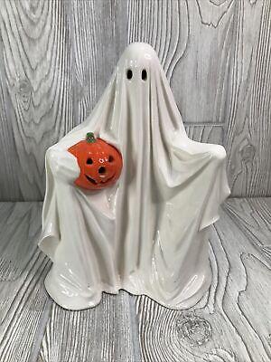 Vintage Ceramic Ghost With Held Pumpkin 1972 Byron Ceramics Mold No Light
