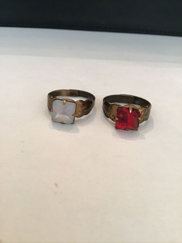 2 Antique Adjustable Rings One With Opal like Stone Other Red Stone