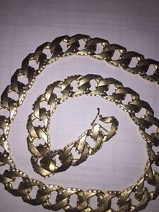 Chaine et Bracelet en Gold 10k coupe pointe diamant des 2 cotés