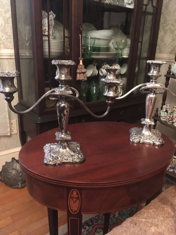 INTERNATIONAL SILVER CO. 3 Arm Candelabra Candle Holder Silver Plate, Ornate Pr.