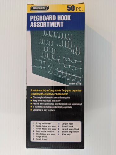 NEW!  50 Piece Pegboard Hook Hanging Storage Organizer All Metal Heavy Duty