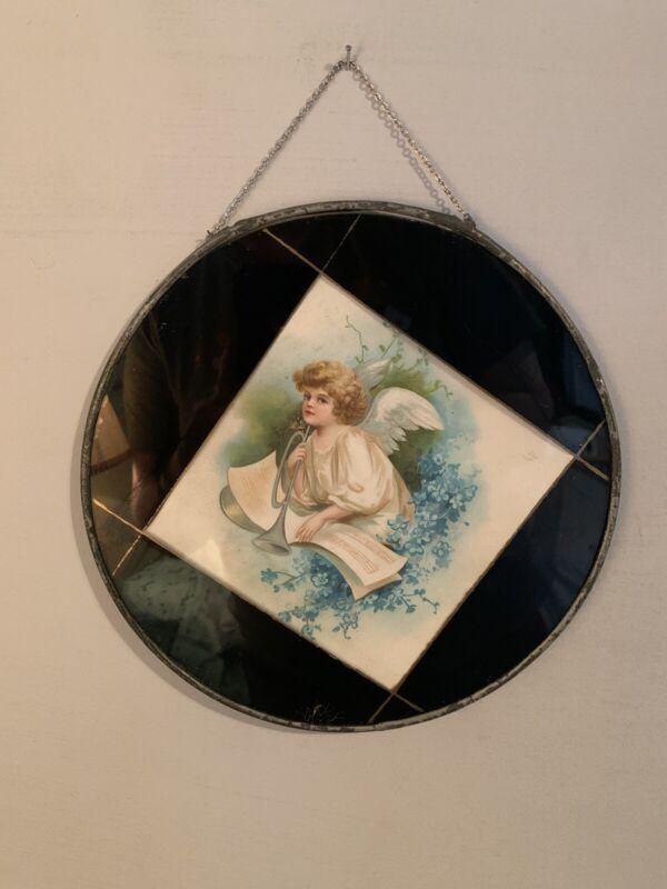 Antique Victorian Glass Flue Cover Cherub Print Angel Estate Find
