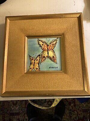 """Lovely Vintage Framed Enamel Butterfly Painting 9"""""""