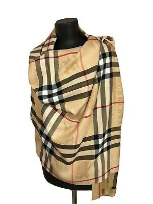 NWT Authentic Burberry Body Wrap Scarf Cashmere Classic Beige