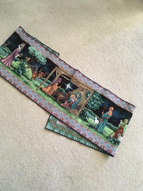 """VTG 72"""" Christmas Nativity Table Runner~ Holy Family• Wisemen• Shepherds"""