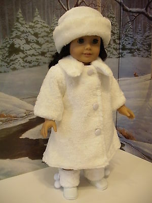 "Lovvbugg White Fur Coat Hat for 18"" American Girl Doll Clothes"