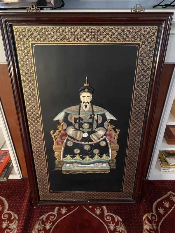 Huge Chinese Emperor Ancestor Framed Painted Relief Carving. 4 Feet Tall.