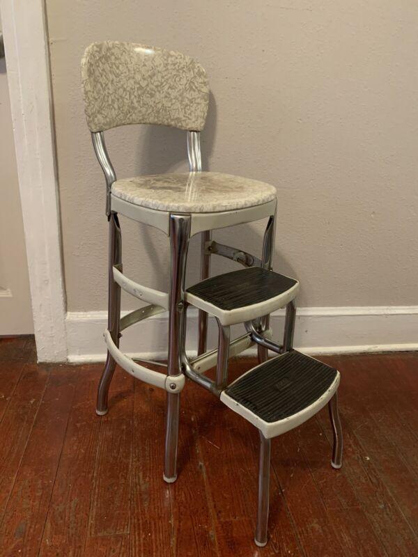 Vintage Cosco Folding Stepstool/Black & Gray/Retro Mid-Century