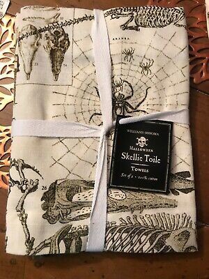 Williams Sonoma Skeletons Bones Halloween kitchen towels New With tags Set of 2