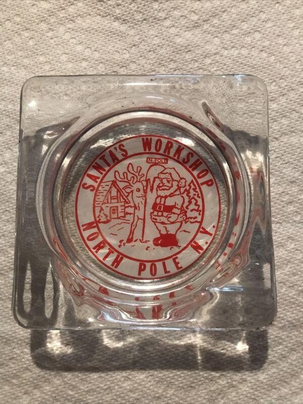 Vintage Ashtray Santa's Workshop North Pole N.Y. Glass Red/White