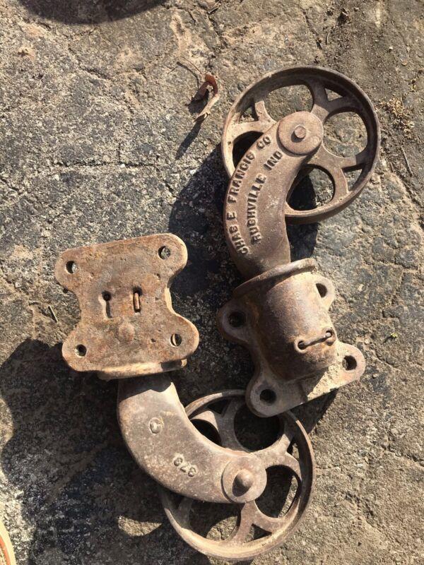 "Antique Cast Iron Industrial Cart Wheels 6"" Diameter Chas Francis Co"