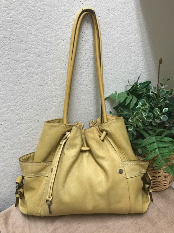 Fossil CASTILLE Yellow Pebble Leather Large Shoulder Handbag Hobo Bag Key Fob