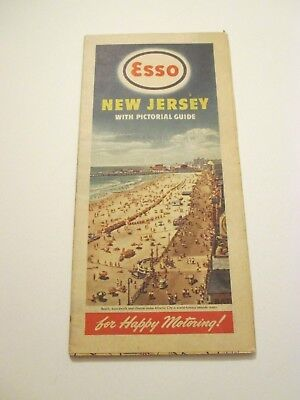 Vintage 1947 ESSO New Jersey Oil Gas Service Station Road Map