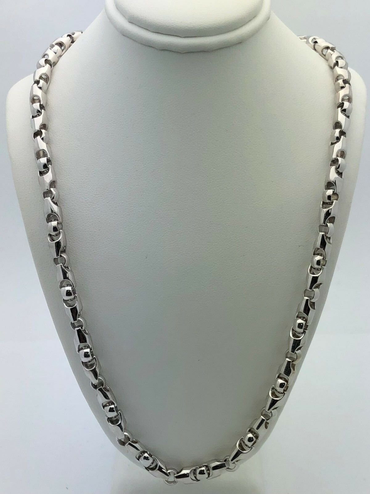 """Men s Solid 14K White Gold Heavy 22"""" Bullet Style Chain Necklace 5 9"""
