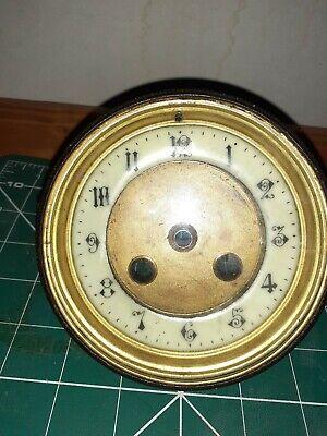 Vintage French Mantel Clock Enamel Dial Face Brass Bezel Bevelled Glass Antique
