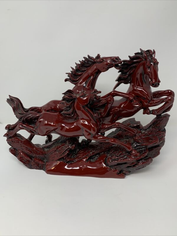 FENG SHUI CHINESE SYMBOL OF SUCCESS Running Wild Horses Statue Figure Red Resin