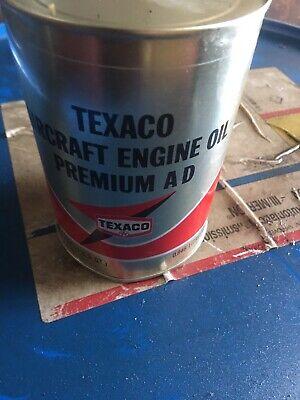 1 Quart Texaco Aircraft Engine Oil Premium AD Motor full Oil Can tin